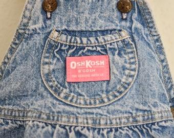 Vintage 1990s OSH KOSH B'GOSH Baby Girl Denim Dress /  Bib Overalls Dress