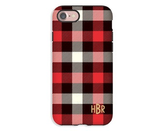 Lumber Jack Plaid iPhone 8 case, monogram iPhone 8 Plus case, iPhone X case, iPhone 7 Plus/iPhone 7 case, iPhone 6s/6s Plus/6/6 Plus cases