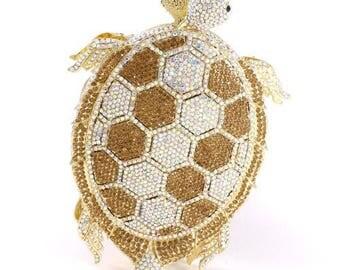 Crystal-Embellished Turtle Clutch Bag