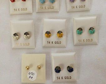14 K Gold  Enamel enameled Lady Bug   earrings