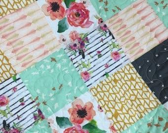 Private order for Ronda Green Modern floral baby girl nursery quilt & skirt  flowers nursery quilt