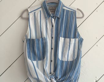 VINTAGE Sleeveless Striped Cotton Denim Top