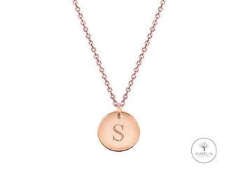 Rose gold 925 Silver Valentine's day wish engraved initials necklace