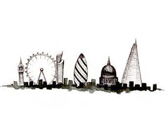 London Skyline / London Art / Big Ben / London Eye / Gherkin / St Pauls / The Shard / Black and White Art