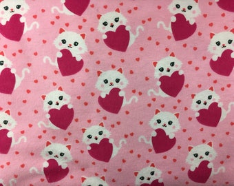 Flannel lounge pants - Valentine kittens Print
