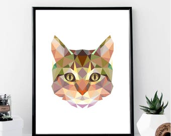 Geometric Cat Print // Minimalist Poster // Wall Art Print // Fashion // Typography // Fashion // Scandinavian Poster // Boho // Modern