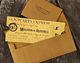 Hogwarts Express Wedding Invitation, Set of 10