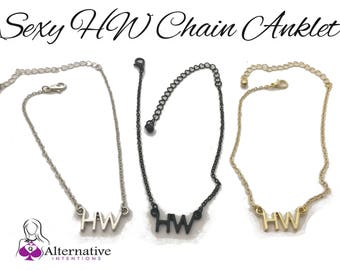 """Silver, Black and Gold  """"HW"""" Hotwife Anklet - Queen Of Spades Slut Cuckold BBC Fetish Bdsm Swinger Lifestyle Jewelry"""
