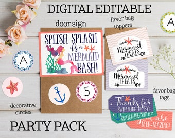 Mermaid Party Printable Set - Mermaid Supplies - Decor - Cake Topper -Mermaid Invitation -Decorations - Party Sign Banner - Girl Party Theme