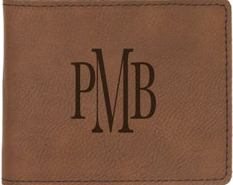 """Laser Engraved 4 1/2"""" x 3 1/2"""" Leatherette Bifold Wallet with Free Engraving"""