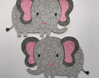 Set of Six gray and pink Elephant die cut, elephant themed baby shower , invitations, card making, favors, scrapbooking, elephant cutout
