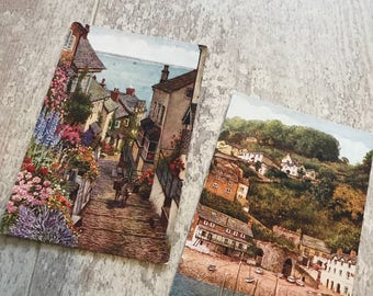 Two pretty vintage postcards of Clovelly