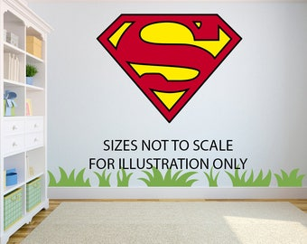 Superman Logo 3D Effect Graphic Wall Vinyl Sticker Decal