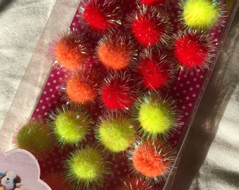 CLEARANCE SALE! Sparkly red, orange and yellow pom poms