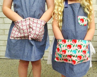 Adult apron and Toddler size 4 apron in pink apples. Custom - Tori