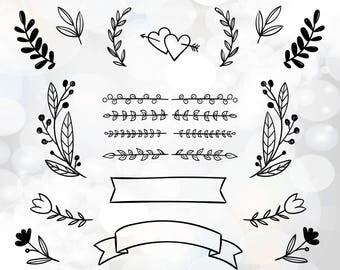 Wedding DIY invitation clipart - wedding invitation files for Cricut - laurel wreath clipart - wedding banner svg - love hearts rings svg