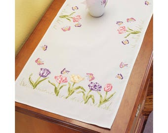 """Stamped Tulip Embroidery Dresser Scarf 14""""X35"""" - Great Gift - FREE SHIPPING"""