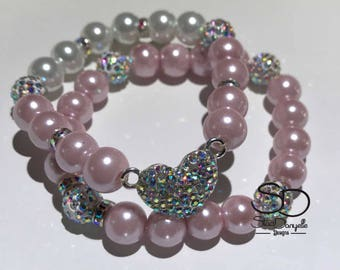 10mm Blush Pink and Ivory Glass Pearl Beaded Bracelet with Pave Crystal  accents