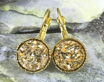 Bridesmaid Gift - Gold Druzy Earrings - Drusy Earrings - Leverback Earrings - Bridesmaid Jewelry - Earrings - Gift for Bridesmaids - Gold