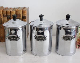Set of 3 Vintage French Metal Canisters - Storage Jars - Copper Chrome Jars - Kitchen Decor - Menesa
