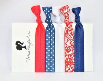 Americana Hair Ties, 4th of July, Red White & Blue, Elastic Hair Ties, Handmade, Elastic Ribbon, Ponytail Holder, Knotted Hair Ties