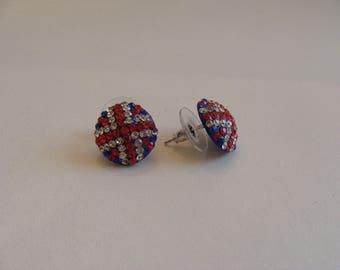 UK blue rhinestone flag chip earrings