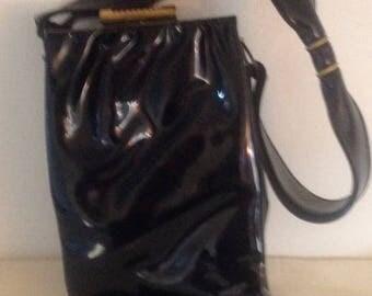 On Sale Unique Vintage Black Patent Purse with Bow Handle