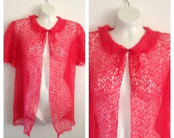 On Sale Lovely Vintage Red Lace Short Robe