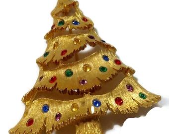 Vintage Goldtone Christmas Tree Rhinestone Pin
