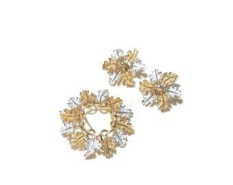 Vintage Silver/Goldtone Leaf Pin and Earrings
