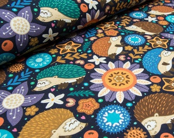 Hedgehogs french terry knit fabric