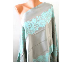 Water green scarf Grey turquoise scarf Women fashion scarf Satin scarf Double sided scarf Soft large scarf Laser leaf Oversize Pashmina