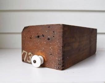 Vintage Wooden Bin with Knob Rustic Wood Box