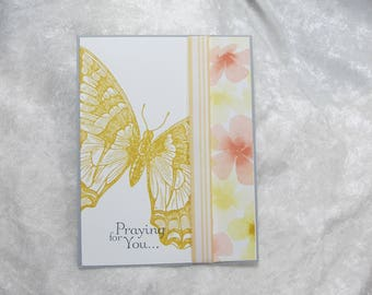 Yellow Butterfly Praying for You Greeting Card Set of 2