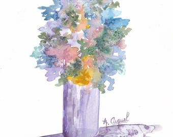 Multicolor bouquet - original watercolor painting