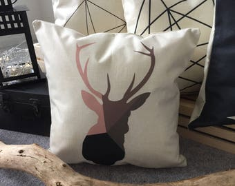 Pink Brown Gray and Black Deer Silhouette  Pillow Cover