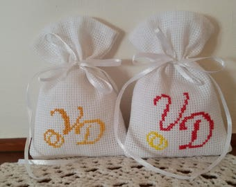 Cross stitch embroidered wedding confetti bags