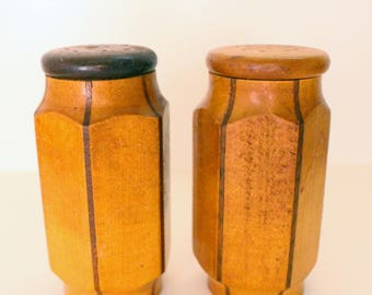 Vintage Teak Salt and Pepper Shakers