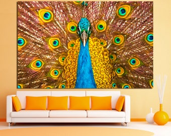 Gold peacock canvas wall art print, peacock feather wall art, golden peacock canvas print, peacock feathers decor, orange peacock wall art