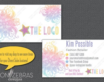 Mandala Business Cards | Inspired by LuLaRoe Business Cards | Landscape |  Direct Sales