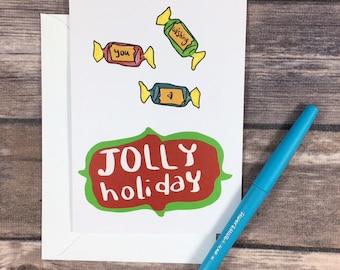 jolly holiday card - candy christmas card - sweet christmas card - jolly rancher card - pun holiday card - funny friend christmas card