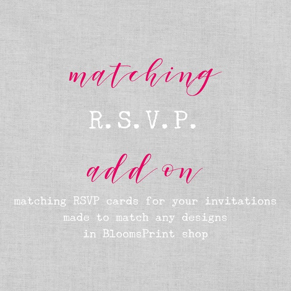 Matching RSVP cards for any BloomsPrint Wedding Invitations, Wedding RSVP cards with envelopes, rsvp for wedding, Custom wedding RSVP, A6