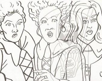 hocus pocus sanderson sisters coloring page