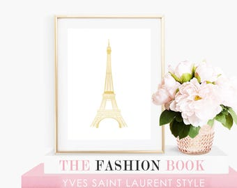 Eiffel Tower in Faux Gold Foil with White Background- Instant Digital Download