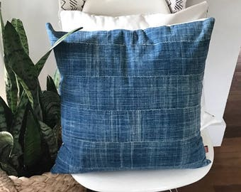 19 x 19 AUTHENTIC MUDCLOTH  PILLOW / Vintage African Indigo Mud Cloth Pillow / Faded Indigo Vintage Mud Cloth Pillow