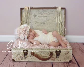LennaMae Lace Romper, Cream, Girls Beaded Newborn Romper~ Newborn Photography Prop