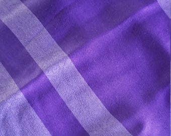 Silk kimono panel purple stripes texture light weight nearly sheer