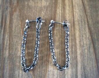 Sterling Silver Chain Earrings - Punk Earrings - Gothic Earrings