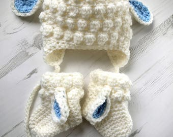 Crochet Baby Hat/ Socks Set/ Little Sheep Baby Set/ Funny Hat & Socks