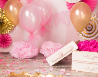 Light Pink, Dark Pink, Gold Set with Balloons, banners, pennants, and more digital background/digital backdrop